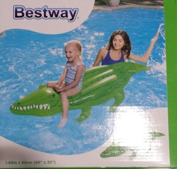 "12 x Novelty Pool Inflatable Crocodile Rider 66""x35"" (1.68m x 89cm) - Wholesale Bulk Lot Deal"