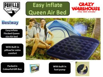 Bestway easy inflate queen size flocked comfort air bed with built in foot pump- ideal for camping trekking hiking travelling or outdoor expedition