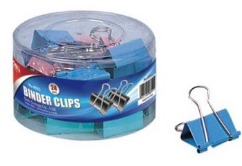 144 Pack (6 x 24 Pack) Colour Bulldog / Fold back Clips 32mm in a tub - Wholesale Bulk Lot Deal