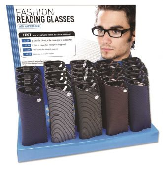 30 x Mens Fashion Reading Glasses with case - Assorted Modern Designs - Wholesale Bulk Lot Deals