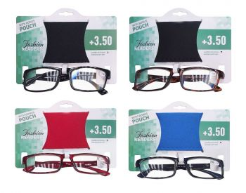24 x Ladies Fashion Reading Glasses with Pouch +3.50 - Assorted Modern Colours - Wholesale Bulk Lot Deals