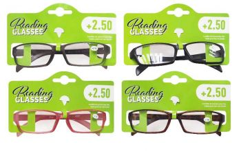 24 x Reading Glasses with Matt Frame +2.50 - Assorted Colours - Wholesale Bulk Lot Deals