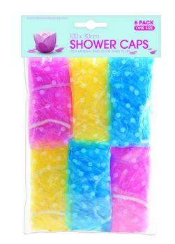 144 Pack (24 x 6 Pack) Shower Caps Assorted colours - Wholesale Bulk Lot Deals
