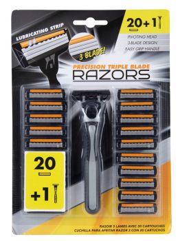 12 X 3 BLADE RAZOR WITH 20 CARTRIDGES - Wholesale Bulk Lot Deals