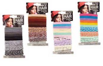 576 Pieces (24 X 24 PACK) HAIR ELASTIC - 4 ASSORTED COLOURS - Wholesale Bulk Lot Deal