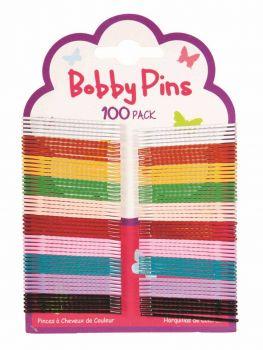 2400 Piece (24 x 100 Pack) Colour Bobby Pins 45mm - 2 Assorted Colours Black & Brown - Wholesale Bulk Lot Deal