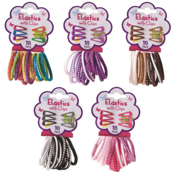 648 Piece (36 x 18 Pack) HAIR ELASTICS WITH CLIPS - 4 Assorted Designs - Wholesale Bulk Lot Deal