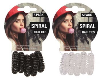 120 Piece (24 x 5 Pack) SPIRAL HAIR TIES 3.5CM - 2 Assorted Colours - Wholesale Bulk Lot Deal