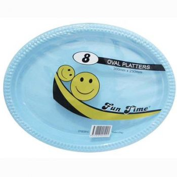 48 Pack - 6 x 8 Pack Baby Blue Plastic Disposable Oval Plate 300 x 230mm - Super Value!