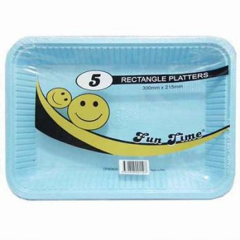30 Pack - 6 x 5 Pack Baby Blue Plastic Disposable Rectangle Platter 300 x 215mm - Super Value!