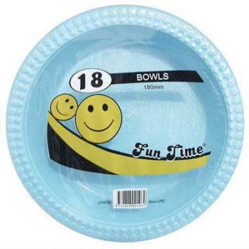 108 Pack - 6 x 18 Pack Baby Blue Plastic Disposable Bowls 180mm