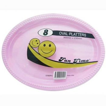 48 Pack - 6 x 8 Pack Baby Pink Plastic Disposable Oval Plate 300 x 230mm - Super Value!