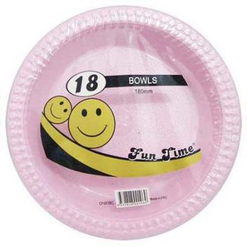 108 Pack - 6 x 18 Pack Baby Pink Plastic Disposable Bowls 180mm