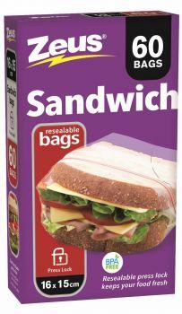 1440 Piece (24 x 60 Pack) Sandwich Bags with Press Lock - Wholesale Bulk Lot Deal