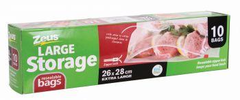 240 Piece (24 x 10 Pack) EXTRA LARGE RESEALABLE STORAGE BAGS ZIPPER LOCK 26CM X 28CM - Wholesale Bulk Lot Deal