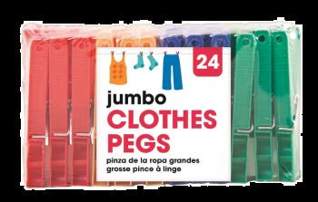 576 Piece (24 x 24 Pack) Jumbo Clothes Pegs - Wholesale Bulk Lot Deals