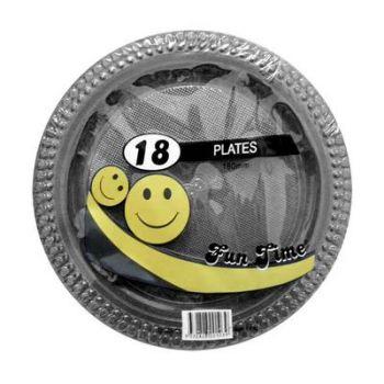 108 Pack - 6 x 18 Pack Black Plastic Snack Plate 180mm - Super Value!