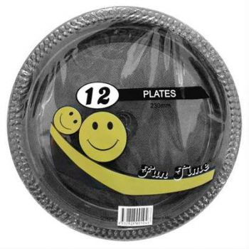 72 Pack - 6 x 12 Pack Black Plastic Disposable Dinner Plate 230mm - Wholesale lots!