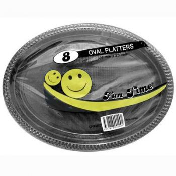 48 Pack - 6 x 8 Pack Black Plastic Disposable Oval Plate 300 x 230mm - Super Value!