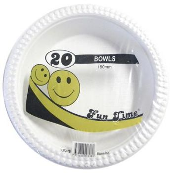120 Pack - 6 x 20 Pack White Bowls 180mm
