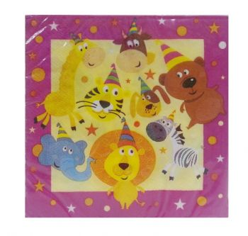 240 Pack - 12 x 20 pack Zoo Animal Theme Birthday Party Napkins / Serviettes - Wholesale lot