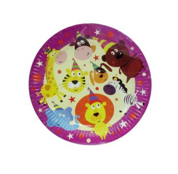 72 Pack - 12 x 6 Pack Zoo Animal Theme Birthday Party Paper Plate 180mm - Wholesale Lot