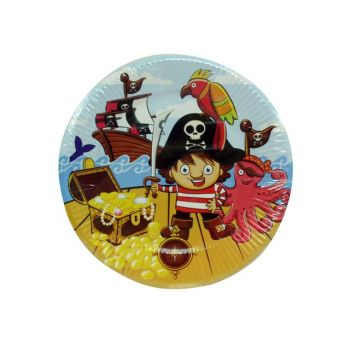 72 Pack - 12 x 6 Pack Pirate Party Paper Plate 180mm - Crazy Lot