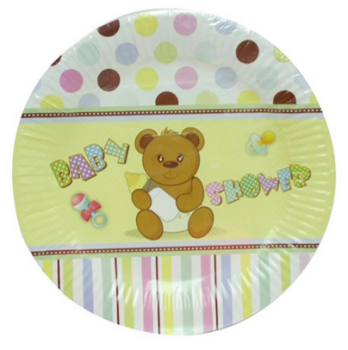 288 Pack (48 x 6 Pack) Baby Shower Theme Party Snack Paper Plate 180mm - Wholesale Bulk Lot Deal