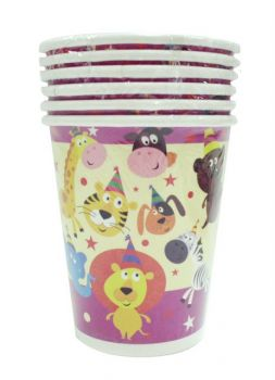 72 Pack - 12 x 6 Pack Zoo Animal Theme Birthday Party Paper Cups - Wholesale lot