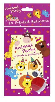120 Pack - 12 x 10 Pack Zoo Animal Theme Birthday Party Printed Balloon - Wholesale lot