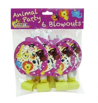 72 Pack - 12 x 6 Pack Zoo Animal Theme Birthday Party Blowouts - Wholesale lot