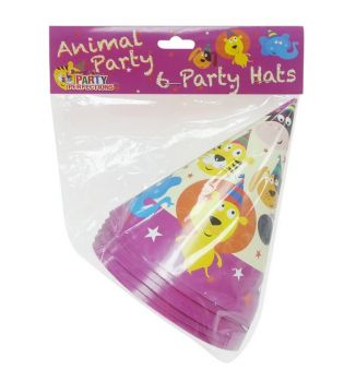 72 Pack - 12 x 6 Pack Zoo Animal Theme Birthday Party Hat - Wholesale lot