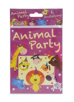 72 Pack - 12 x 6 Pack Zoo Animal Theme Birthday Party Invitation Cards - Wholesale Lot