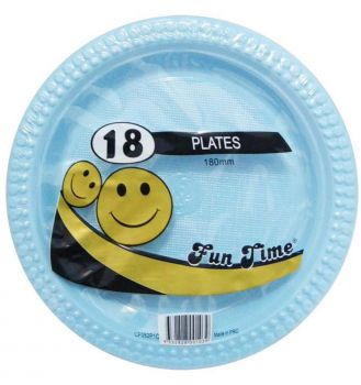 108 Pack - 6 x 18 Pack Baby Blue Plastic Snack Plate 180mm - Super Value!