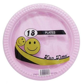 108 Pack - 6 x 18 Pack Baby Pink Plastic Snack Plate 180mm - Super Value!