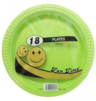 108 Pack - 6 x 18 Pack Light Green Plastic Snack Plate 180mm - Super Value!
