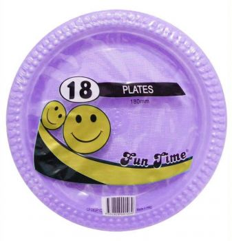 108 Pack - 6 x 18 Pack Lilac Plastic Snack Plate 180mm - Super Value!