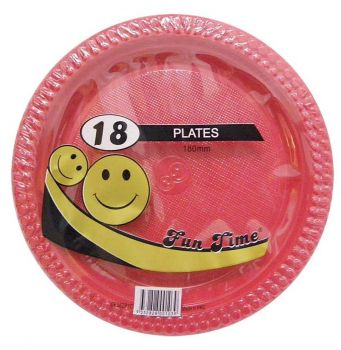 108 Pack - 6 x 18 Pack Red Plastic Snack Plate 180mm - Super Value!