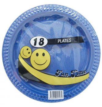 108 Pack - 6 x 18 Pack Royal Blue Plastic Snack Plate 180mm - Super Value!