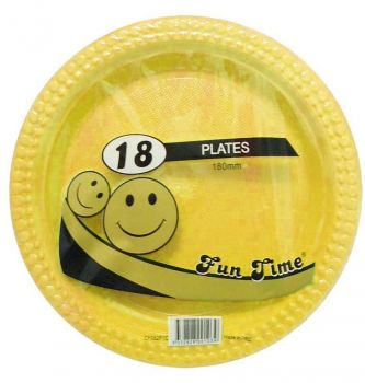 108 Pack - 6 x 18 Pack Yellow Plastic Snack Plate 180mm - Super Value!