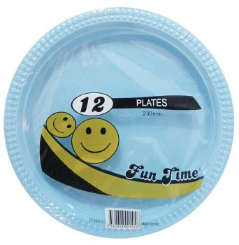 72 Pack - 6 x 12 Pack Baby Blue Plastic Disposable Dinner Plate 230mm - Wholesale lots!