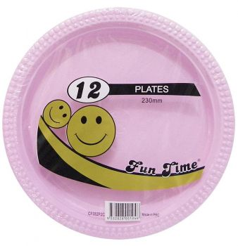 72 Pack - 6 x 12 Pack Baby Pink Plastic Disposable Dinner Plate 230mm - Wholesale lots!