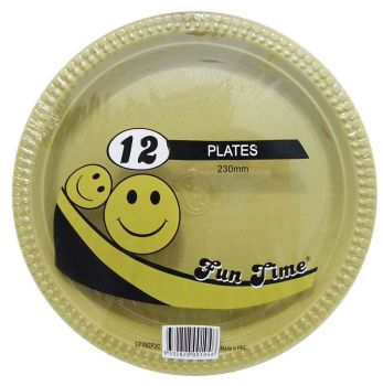 72 Pack - 6 x 12 Pack Gold Plastic Disposable Dinner Plate 230mm - Wholesale lots!