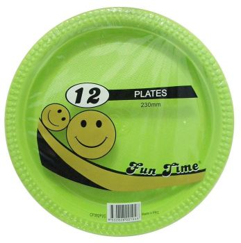 72 Pack - 6 x 12 Pack Light Green Plastic Disposable Dinner Plate 230mm - Wholesale lots!