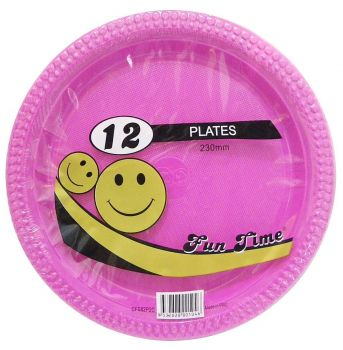 72 Pack - 6 x 12 Pack Hot Pink Plastic Disposable Dinner Plate 230mm - Wholesale lots!