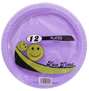 72 Pack - 6 x 12 Pack Lilac Plastic Disposable Dinner Plate 230mm - Wholesale lots!