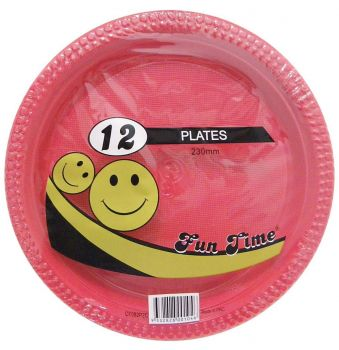 72 Pack - 6 x 12 Pack Red Plastic Disposable Dinner Plate 230mm - Wholesale lots!