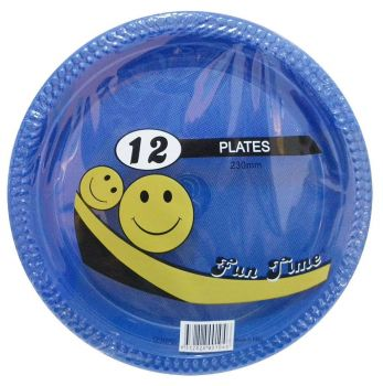 72 Pack - 6 x 12 Pack Royal Blue Plastic Disposable Dinner Plate 230mm - Wholesale lots!