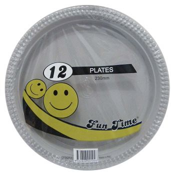 72 Pack - 6 x 12 Pack Silver / Grey Plastic Disposable Dinner Plate 230mm - Wholesale lots!