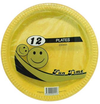 72 Pack - 6 x 12 Pack Yellow Plastic Disposable Dinner Plate 230mm - Wholesale lots!